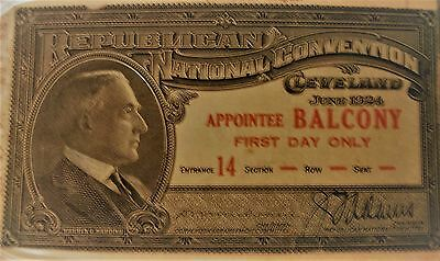 1924 Republican National Convention Ticket President Calvin Coolidge Balcony