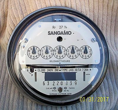 Sangamo Form 2 Residential Electric Meter 240 Volt 200amp Clean + Working