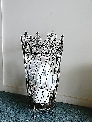 BEAUTIFUL FRENCH  antique brown  toilet paper basket  WROUGHT IRON NEW