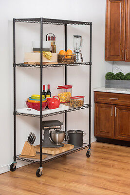 TRINITY 4-Tier Wire Shelving Rack | 48 x 18 x 72 | NSF | w/ Casters and Liners