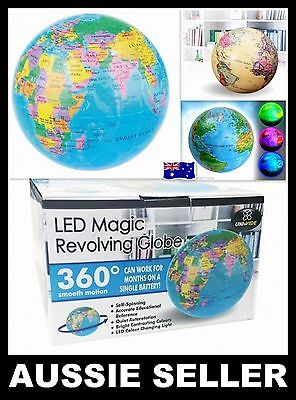 GLOBE LED MAGIC REVOLVING Educational Toys High Spinning World Globe Map Earth