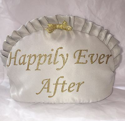 BETSEY JOHNSON silver and glitter gold Happily Ever After cosmetic bride bag NWT