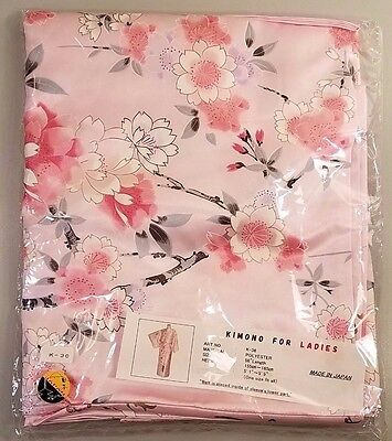 "NEW Japanese Womens 56"" Polyester Pink Floral Kimono For Ladies Made in Japan"