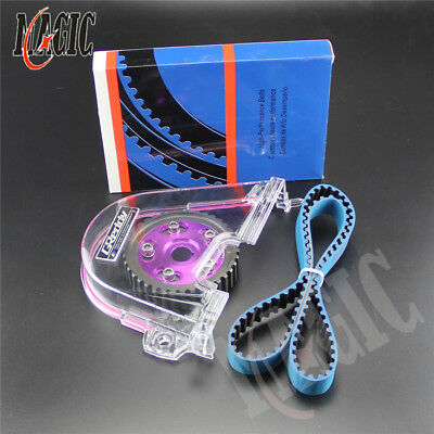 Clear Gear Cover+ Timing Belt +Cam Pulley Kit For Honda Civic D15 D16C 96-00 PL