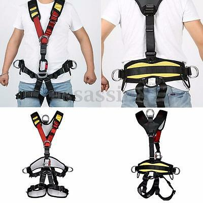 Black Full Body Safety Rock Climbing Arborist Tree Rappelling Harness Seat Belt