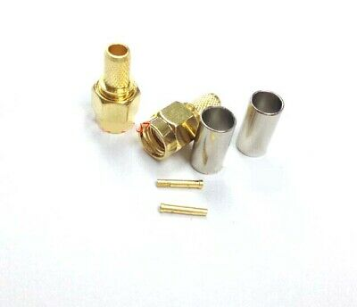 10 PCS RP-SMA male Plug RF Adapter Connector for Crimp RG58 LMR195 Cables