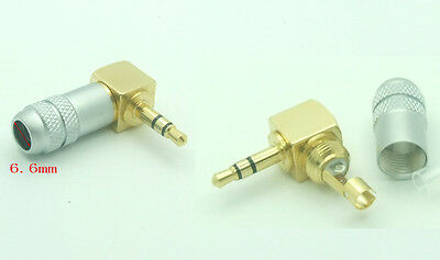10 pcs brass Stereo 3 Pole 3.5mm 90 Degree Plug Angled Jack Cable Solder