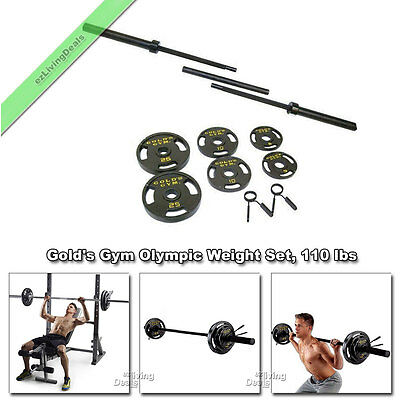 Golds Gym Olympic Weights 110 lbs Bar Cast Iron Plates Golds Barbell Weight Set