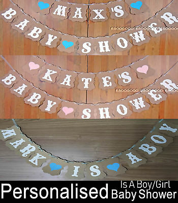 Personalised Rustic Baby Shower Bunting Banner Garland Party Decoration