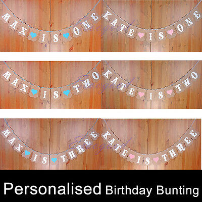Personalised Birthday Party Bunting Boy Girl Banner First 1st 2nd 3rd ALL AGE