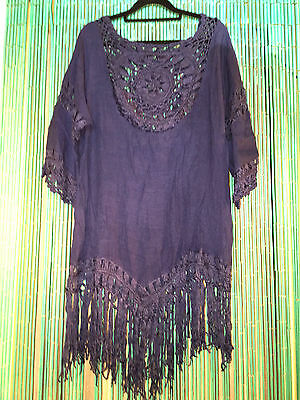 Lot of 5 crochet trim dresses.5 colors.very popularboho look.New.Fits many sizes
