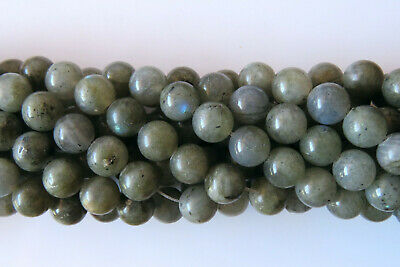50pcs 8mm Round Natural Gemstone Beads - Grey Labradorite