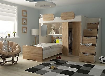 hochbett schonberg rustikal hell kinderbett etagenbett multifunktion 90x200 eur 849 00. Black Bedroom Furniture Sets. Home Design Ideas