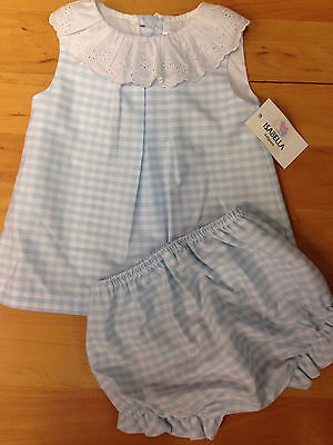 Baby Girls Romany Spanish Blue Checked 2 Piece Dress Knickers  Outfit Set