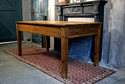Antique Victorian Rustic Pine Kitchen Farmhouse Country Style Table