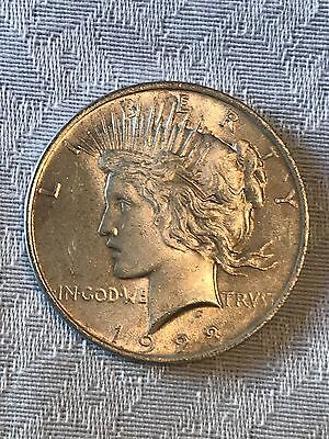 1922 -1934 U.S. PEACE SILVER DOLLAR VERY FINE to AU ALMOST UNCIRCULATED 90% COIN