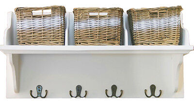 Wooden Storage Shelf With 3 Wicker Baskets & Coat Hooks Hanger Wall Unit White