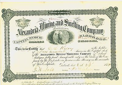 1884  Stock Certificate- Alexandra Mining and Smelting Company  OF DETROIT, MICH
