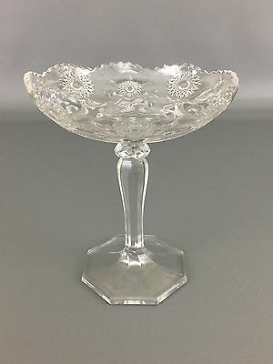 Antique clear pressed glass footed compote 1900's