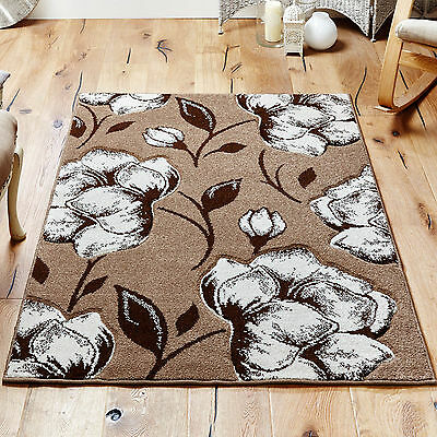 Viva Soft Beige Brown Floral Design Hand-carved ALL SIZES Rugs Runners