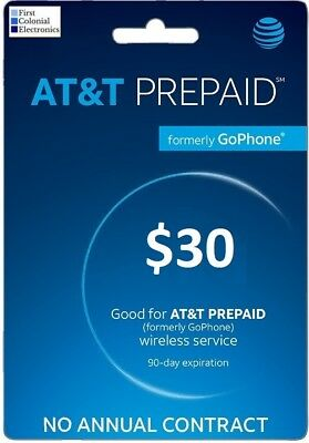 AT&T Prepaid (Formerly GoPhone) $30 Refill - Fast & Right