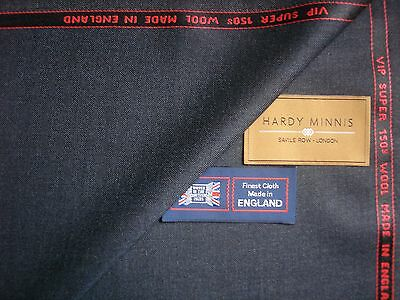 100% SUPER 150's WOOL <HARDY MINNIS> SUITING FABRIC MADE IN England -3.4 m.