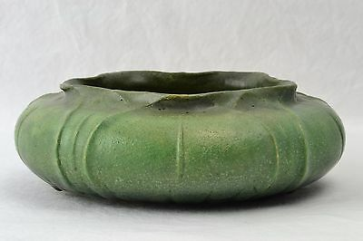 Grueby Faience Pottery Bowl 1900's Organic Form Green Bowl Artist Signed ER #428
