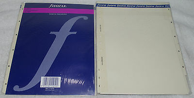 2 pc FILOFAX DESKFAX INDEX Cream Numbered 6 tabs Refill Insert Organizer Agenda
