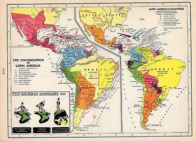 1953 LATIN AMERICA COLONIZATION and WAR 1812 Hammond Atlas 2 ORIGINAL maps A6