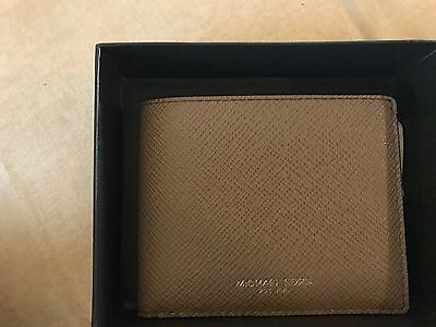 40d7272ac67673 Michael Kors Men's Taupe Harrison Slim Leather Billfold Wallet With Box.
