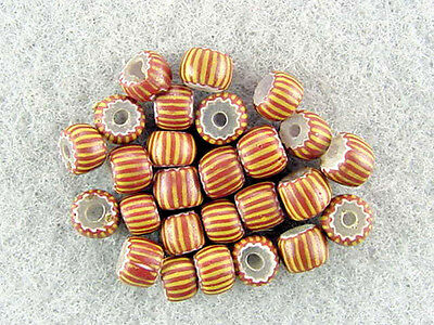 Trade-Beads-Venetian-Rare-Antique-3-Layer-Clear-Center-Brick-Red-White-Chevron