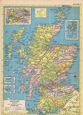1953 SCOTLAND and IRELAND from Hammond Atlas 2 ORIGINAL maps A6