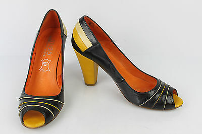 Open Court Shoes STUDIO pour ANDRE Black Leather and Yellow T 37