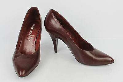 VINTAGE Court shoes FRANCE ARNO Leather Bordeaux T 38 VERY GOOD CONDITION