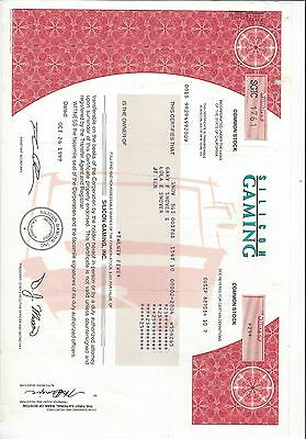 Silicon Gaming  Stock Certificate  Gaming, Casino Chips,  Slot Machines 1 Share