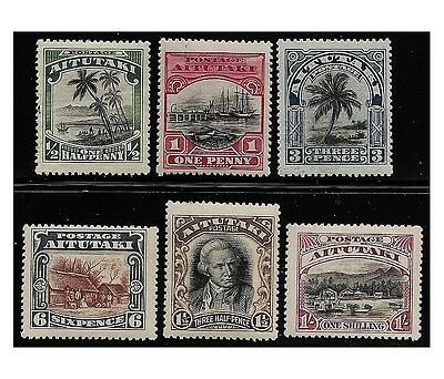 AITUTAKI stamps 1920 Capt. Cook and views, complete set of 6 MH (SG.24/29) F458
