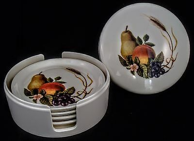 Vintage Round Melamine Coaster Set 4 Holder & Lid White w Fruits Source Brand