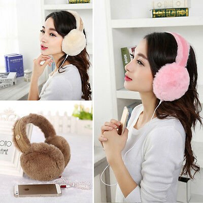 fashion Winter #I Plush Earmuffs Headphones 3.5mm Wired Ear Warmer Protector New