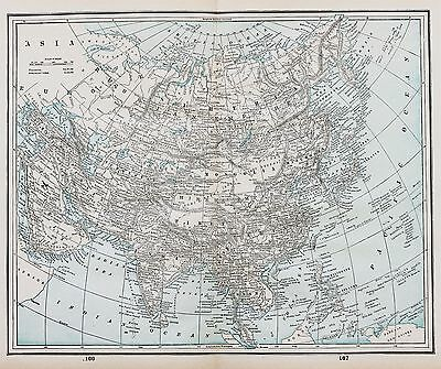1893 Asia China Map India Mongolia Philippines Japan Siam Burmah Original