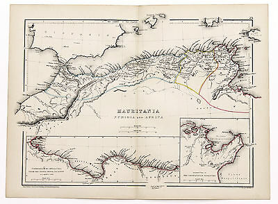 1856 Africa Mauritania Numidia Map Hand-Colored Original W. Hughes
