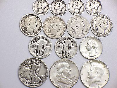 Lot Of US 90% Silver Coins Nice Mix $3.65 Face Value