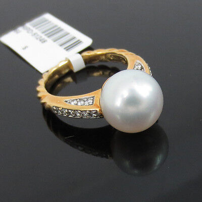 Estate David Yurman 0.30ct Diamond & 11mm South Seas Pearl 18K Yellow Gold Ring