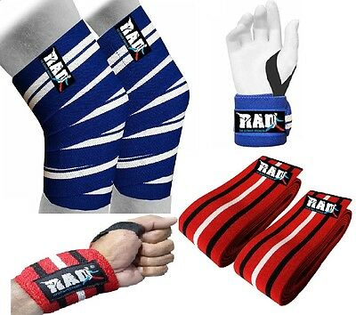 2Fit Knee & Wrist Wraps Grip Bandage Pads Weight Lifting Crossfit Gym Training