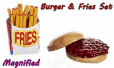 DOLLHOUSE MINIATURE HAMBURGER & FRENCH FRIES  by FARROW INDUSTRY REALISTIC FOOD