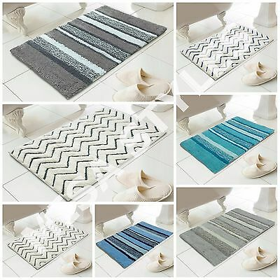 New 100% Cotton Stripe Chevron Bath Shower Bathroom Mat Thick Washable Absorbent