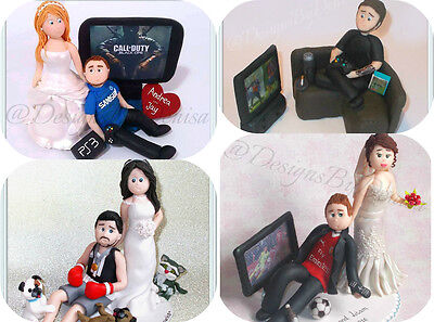 Bride Dragging Groom From Football , PS , Xbox , Funny Wedding Cake Toppers