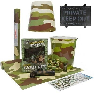 Kids Army Camouflage 10 Piece Bedroom Set Wallpaper Light Shade Net Sign Boys