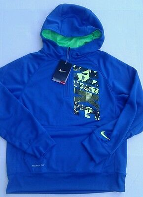 New Tags Nike Boy's Youth Hoodie Sweatshirt Blue Neon Camo Size Xl Therma Fit