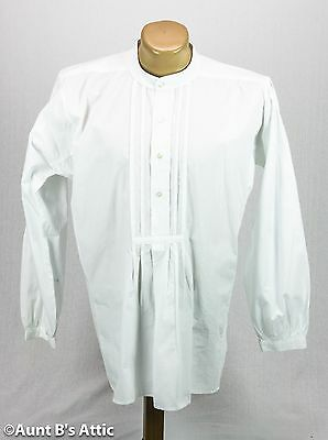 Victorian Men's Banded Collar White Cotton Pleated Front 1800's Style Shirt