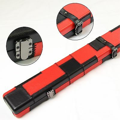 Stunning RED and BLACK Leather Patch Effect Cue Case Holds 3/4 Jointed Cue